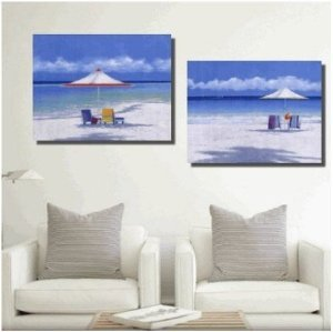 Seashore Painted Painting Decoration Unstretch