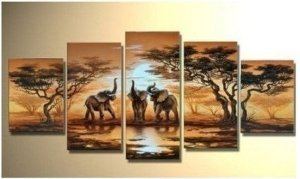 Grassland Widelife Elephants Decoration Unstretch