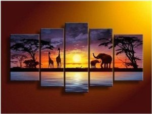 Grassland Elephant Painting Decoration Unstretch