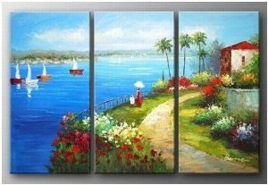 Mediterranean Abstract Painting Decoration Unstretch