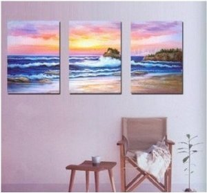 Seashore Abstract Painting Decoration Unstretch