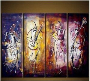 Musicians Painted Painting Decoration Unstretch