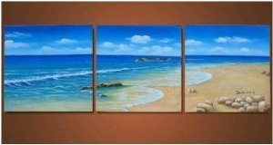 Abstract Painting Decoration Seashore Stretched