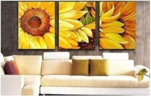 Abstract Painting Decoration Sunflowers Stretched