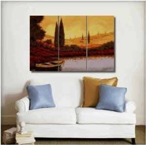 Landscape Painted Painting Decoration Unstretch