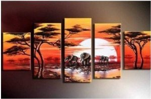 Abstract Painting Decoration Grassland Stretched