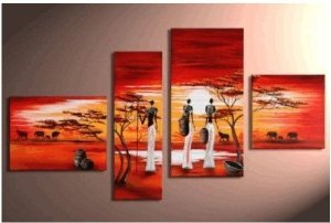 African Abstract Painting Decoration Unstretch